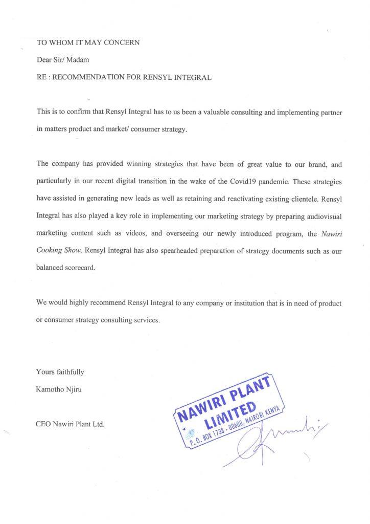 Nawiri Plant Ltd Recommendation | Rensyl Integral client recommendation letter